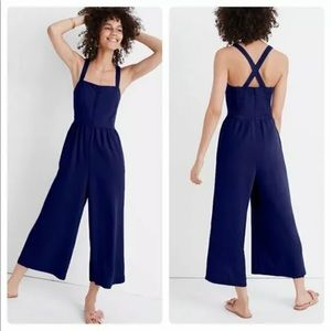 Madewell Blue Smocked Jumpsuit - Button Strap